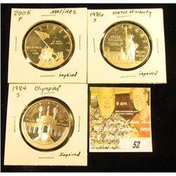 1984 S Silver Olympiad Proof; 1986 S Silver Statue of Liberty Proof; & 2005 P Silver Marines Proof C