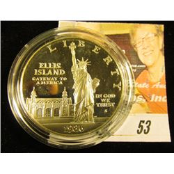 1986 S Ellis Island Silver Statue of Liberty Proof Dollar, encapsulated, but no box.
