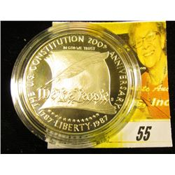 1987 S Constitution Silver Proof Dollar, encapsulated, but no box.