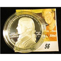 2005 P John Marshall Commemorative Silver Proof Dollar, encapsulated, but no box.