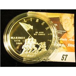 2005 P Marines Commemorative Silver Proof Dollar, encapsulated, but no box.
