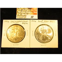 Pair of 1996 U.S. Silver American Eagle One Ounce .999 Fine Dollar Coins, Both BU, one heavily toned