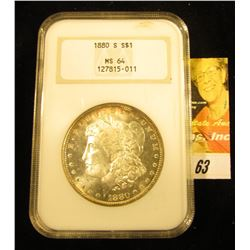 1880 S U.S. Morgan Silver Dollar, NGC slabbed MS 64, lovely gold toning.