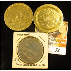 Three different Brass One Dollar Gaming Tokens: Treasure Bay, Biloxi, Ms.; Tropicana, Atlantic City,