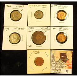 Group of assorted Coin Errors including 1834 Large Cent with Clipped Planchet, type 2 blank Cent pla