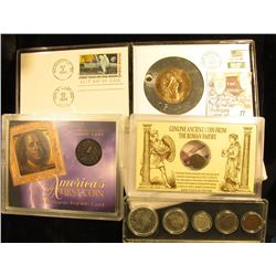 Man on the Moon medal; Ancient Roman Coin; Fugio Cent Copy; and a Five Coin Yesteryear set containin