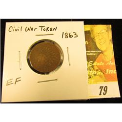 "1863 Civil War Token ""United States of America 1863"", EF."