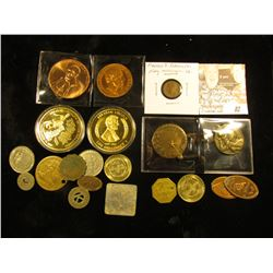 (20) items in this lot, Medals, Tokens, and etc. Includes a Good Conduct medal, a Lincoln Medal, and