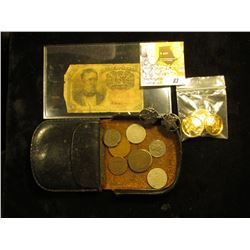 Ten Cent Fractional Currency Note; pair of Maple Leaf Cufflinks; (3) guilded buttons; & old leather