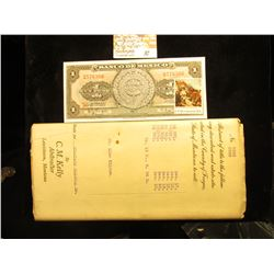 "1924 ""Opinion of Title…Fergus Co., Mont."" & a 1970 Mexico One Peso Banknote with a U.S. Bicentennial"