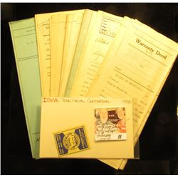 A group of several Warranty Deeds from early 1900 Montana; & a 1938 Iowa Territorial Centennial Expo