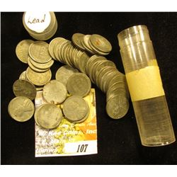 Full Roll of World War II Steel Cents in a plastic tube.