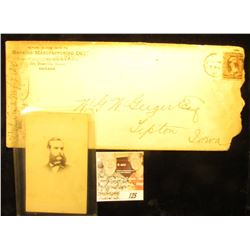 "1887 Tipton, Ioa. Cancelled cover from ""Hopkins Manufacturing Co…Chicago""; & a Civil War era black &"