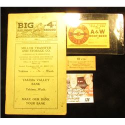"August, 1922 booklet ""Big 4 Railroad Record Official Seniority Book"" with advertisements from Yakima"
