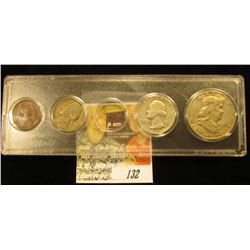 Snap tight holder containing a 1955 P Cent, 1955 D Nickel, 1955 P Quarter, & 1955 P Franklin Silver