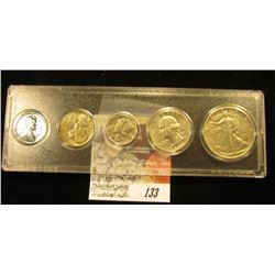 Snap tight holder containing an EF set of 1943 Coinage, Cent thru Walking Liberty Half-Dollar.
