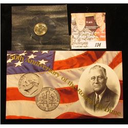 """50th Anniversary of the Roosevelt Dime"" 1996 W Roosevelt Dime in original cellophane and with placa"