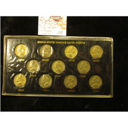 1942-45 Complete 11 pc. Set of World War II Silver Nickels in a special holder.