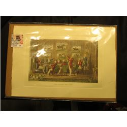 "Print ""Fox Hunting For Ever"" depicts a group of English Lords toasting the hunt with equestrian art"