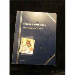 """""""Silver Three Cent Collection 1851 to 1873"""" Blue Whitman folder containing a single 1853 U.S. three"""