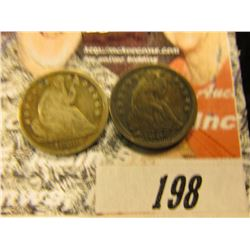 1838 Good with obverse scratch & 1854 Arrows VF U.S. Seated Liberty Half Dimes.