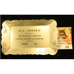 "Small aluminum advertising tray ""G.L. Jensen The Reliable Jeweler Diamonds, Watches & Silverware Dik"