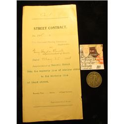 Original May 25th, 1898 Contract between the Oakland Paving Company, City of Oakland, Alameda County