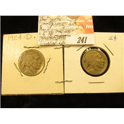 1924 D & 25 D Buffalo Nickels, VG.