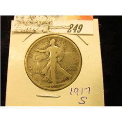 1917 Reverse S Walking Liberty Half-Dollar, VG.