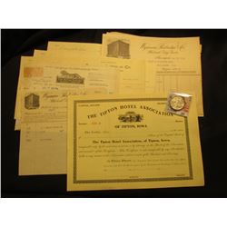 "(10) Early 1900 or late 1890s Business Invoices; ""The Tipton Hotel Association of Tipton, Iowa"" Numb"