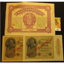 "1926 ""Second Nationalist Government Lottery Loan of the Fifteenth Year of the Republic of China"", ne"