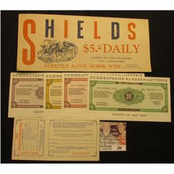 "Advertising envelope ""Shields $5.00 Daily Known to turf Followers for a Generation Strictly A-One Ho"