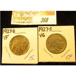 1927 D VF & 1827 S VG Buffalo Nickels.