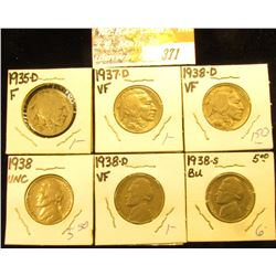 1935 D F, 37 D VF, 38 D VF Buffalo & 38 Unc 38 D VF, 38 S BU Jefferson Nickels.