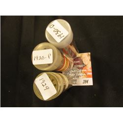 1920, 1929 & 1930 D Circulated Lincoln Cent Rolls.