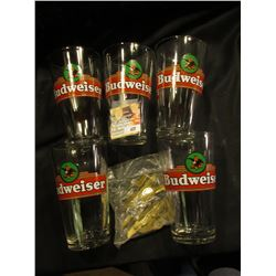"(5) Heavy Budweiser Souvenir Glasses, 3 1/4"" x 5 1/4""; & a group of Pilot's Wings from a 1930 era Ra"