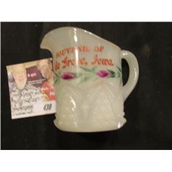"Milk Glass Pitcher with Gold rim ""Souvenir of Ida Grove, Iowa"""