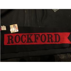 """Rockford"" (Iowa) Souvenir Felt Pennant; & 1943 P Walking Liberty Half-Dollar, VF."