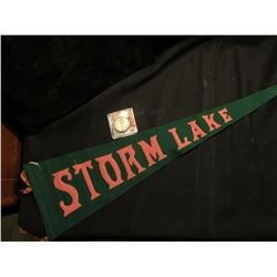 """Storm Lake"" Souvenir Felt Pennant; & 1945 D Walking Liberty Half-Dollar, AU."