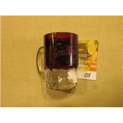 "Ruby Red Flash Glass Crystal Souvenir Miniature Mug ""Merrill Iowa 1915""."