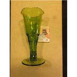 "Small Emerald Glass Vase ""Souvenir Storm Lake"" (Iowa) 6"""