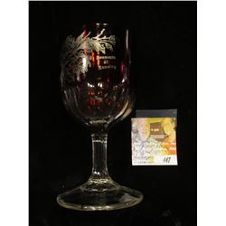 "Ruby Red Flash Glass Crystal Goblet ""Souvenir of Lansing"" (Iowa) 6"" x 3""."