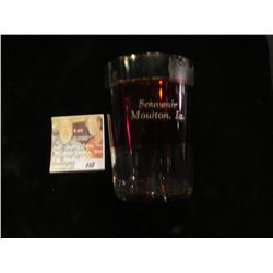 "Ruby Red Flash Glass Crystal with gold trim ""Souvenir Moulton, Ia."" 2 3/4"" x 3 3/4"""