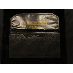"Wallet for Large Size U.S. Currency ""Compliments of The Bank of Elberon Iowa""."