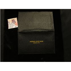 "Wallet for Small Size U.S. Currency ""Farmers State Banki Elberon Iowa"". Leather with gold lettering."