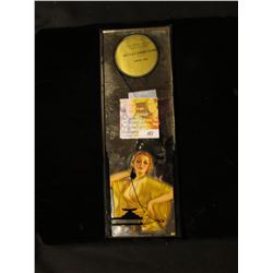 "3 5/8"" x 10 1/8"" Advertising Mirror depicting a female ""Flapper"". """"The Power to Pass That's D-X Gas"