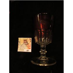 """Souvenir Anamosa, Iowa."" Ruby Red Flash Glass Crystal Goblet. 5 1/2"" x 2 3/4""."