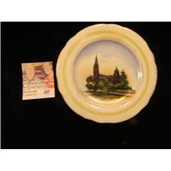 """Catholic Church & Parsonage, Lansing, Iowa"" small China Saucer. 5 1/2""."