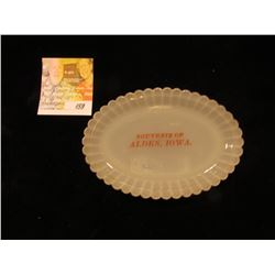 "Milk Glass Souvenir Platter ""Souvenir of Alden, Iowa."""