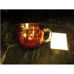 "Ruby Red Flash Glass Crystal ""Souvenir Nora Springs, Iowa."" Small Cup."